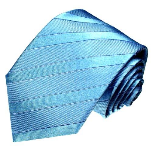Preisvergleich Produktbild LORENZO CANA - Luxus Krawatte aus 100% Seide - Seidenkrawatte blau türkis himmelblau unifarben - 77017