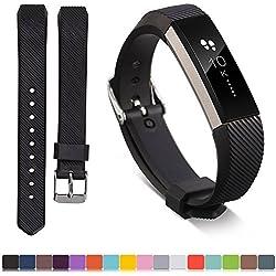 Fitbit banda de reemplazo de alta + free HD protectores de pantalla, ifeeker suave silicona con hebilla de metal correa de diseño reloj banda para Fitbit alta (no rastreador de fitness), color blanco