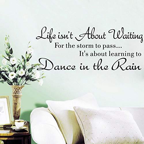 Yzybz Fancy English Letter Das Leben Geht Es Nicht Um Das Warten Von Wandtattoos Zitat Tanzen Im Regen Wall Decal Words For Home Raumdekoration