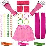 Foxxeo 19 teiliges 80er Jahre Neon Damen Kostüm Set für Fasching & Karneval - Tutu, Netzhandschuhe, Stulpen, Schweißbänder, Gürtel, Armbänder, Ketten