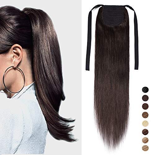 Coda capelli extension veri code di cavallo clip ponytail extensions allacciare fascia unica 100% remy human hair naturali umani lisci 50cm-95g # castano scuro