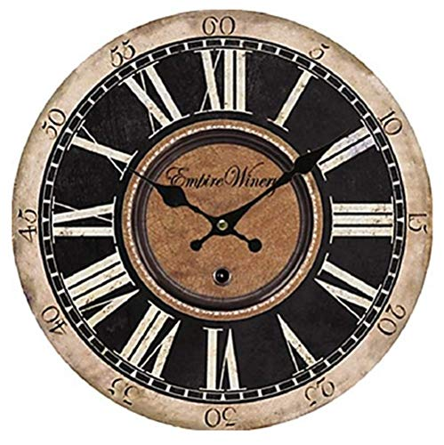 Ailing antique/casual / country wood round indoor, orologio da parete a batteria,d,m