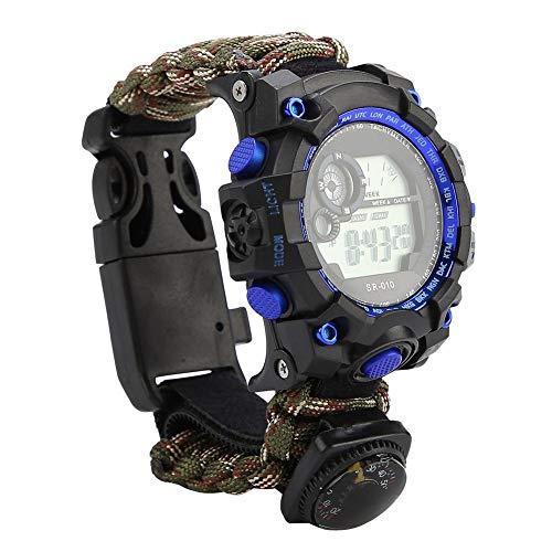 Imagen de reloj de supervivencia al aire libre,pedernal pulsera supervivencia pulsera paracord bracelet multifuncional impermeable reloj de emergencia equipo de supervivencia brújula silbato reloj