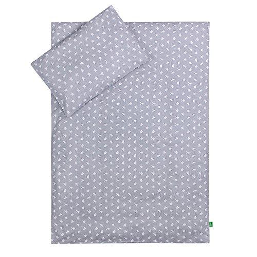 LULANDO Bettwäsche Kinderbettwäsche Bettset 2-teilig Kissenbezug und Bettbezug. Oberstoff 100% Baumwolle. Passend für Kinderbetten 70x140 cm. Farbe: Grey Clouds / Stars Grey