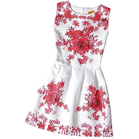 Vestido Nueva tutú Vestido niñas de la impresión vestido princesa sin manga para Muchaschas Fiesta Boda