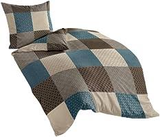 Bierbaum 6277_04 Dessin Parure de lit en flanelle Moka, Flanelle, multicolore, 135 x 200 cm