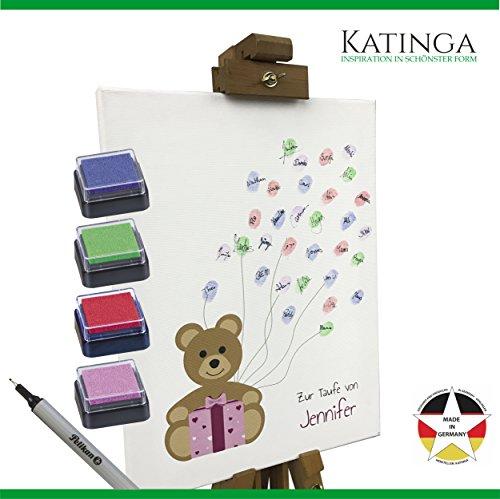 KATINGA Personalisierte Leinwand Taufe als Gästebuch - Motiv Teddybär (30x40cm) (rosa)