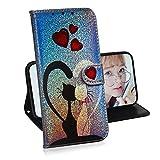 Luccichio Cover per Samsung Galaxy J6 PLUS,Miagon Porta Carta Guscio Protettiva Magnetico Stand Stile Libro Custodia Glitter Colorato Design,Gatto Coppia