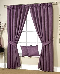 """Ravalli Plum 90""""(228cm) Wide x 72""""(183cm) Drop 3"""" Tape Top Curtains with Jaquard Twigs Design. Sold in Pairs."""