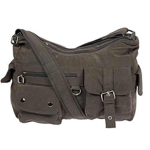 Christian Wippermann Damenhandtasche Schultertasche aus Canvas Grau Grau