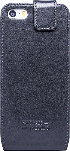 JT Berlin 10100 LederBook Magic Schutzhülle für Apple iPhone 7 Plus / 8 Plus (Echtleder, Handarbeit, Standfunktion, Kartenfächer, Magnetverschluss) cognac LederFlip Style - schwarz