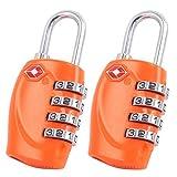 2 x TSA Cadenas de sécurité - 4-nombre Combinaison Voyage Valise bagages Code de sac Lock (Orange) - GARANTIE À VIE