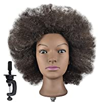 Training Head 100% Real Human Hair Cosmetology Hairdressing Mannequin Manikin Doll Afro (Table Clamp Holder Included)