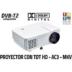 Proyector con TDT Luximagen SV100 Blanco con TDT HD, USB, HDMI, VGA, AC3 [España]