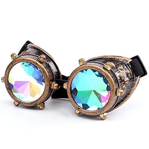 Xshuai 17 * 6 cm Kaleidoskop Bunte Gläser Rave Festival Party EDM Sonnenbrille Beugte Objektiv Für Weihnachten Festivals (A)