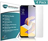 Slabo 4 x Bildschirmschutzfolie für ASUS Zenfone 5Z (2018) Bildschirmfolie Schutzfolie Folie Zubehör (verkleinerte Folien, aufgr& der Wölbung des Bildschirms) Crystal ClearKLAR - unsichtbar Made IN Germany