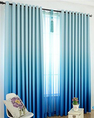 Sliao home alto grado solido colore grazioso tende ombreggiatura moderna gradiente per soggiorno bambini camera da letto tende rosa blu viola, blue, 1pcx(150x260cm)