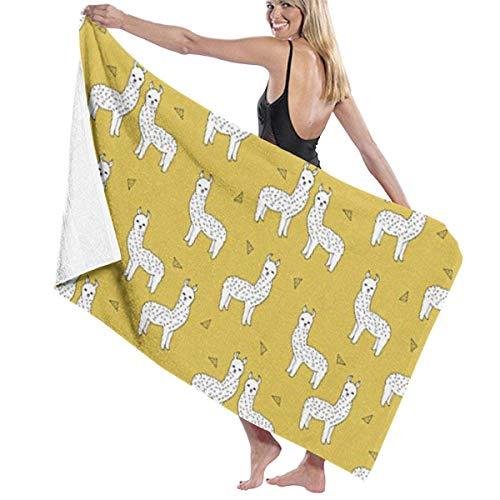 LanKa Badetuch, Lama-Mustard Gelb, bestes Strandtuch - Extra groß, Outdoor Home Travel Rack Schwimmen Yoga Matte Personalisierte Frauen Männer Erwachsene Kinder (79 x 130 cm, weiß)
