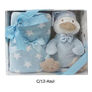 Duffi Baby- Manta y Peluche Patito, 90 x 75 cm, Color Azul (Master Baby Home, S.L. 5270-12)