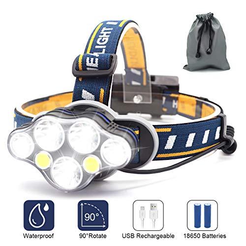 STIRNLAMPE USB WIEDERAUFLADBAR KOPFLAMPE Helmlampe