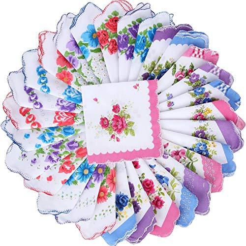 30 Piezas Pañuelos Estampados Florales Mujeres Pañuelos