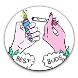 Kitchen & Housewares : Best Buds Weed Marijuana Stoned Faded Custom Stainless Coaster| Add A Stylish & Custom Protective Layer To Serve Coffee, Tea & Drinks On Your Tables| Premium Quality Serveware Accessories By Hamerson