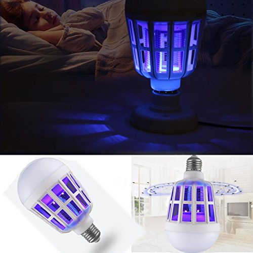 Moonuy Nouvelle Ampoule anti-moustique LED 15W électronique Insecte Fly Lure Kill Ampoule tueur Double usage électrique Balle Moustique Lampe Longue Durée vie Haute Efficacité Lumineuse (Blanc)
