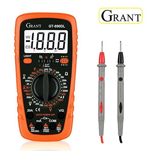 Multímetro Digital Gran't GT-890DL Polimetro AC/DC Tester Electrico con Resistencia Multi Tester con Voltímetro, Amperímetro, Ohmímetro con Retroiluminación LCD