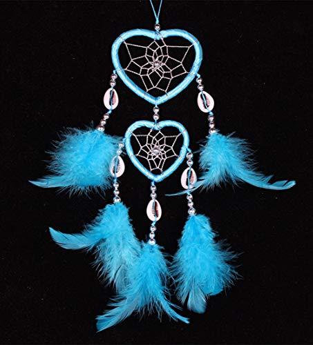 Egurs Dream Catcher Handmade Double Heart geformt Net mit Federn und Shell für Wand Auto Hängende Dekoration Ornament Craft Geschenk blau -