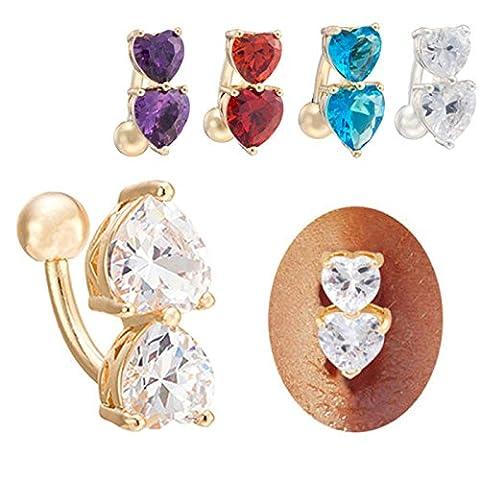 Butterme Damen Love heart Nabel Ring Mode Bauch Ring baumeln