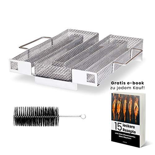 DAWORA – Kaltraucherzeuger Edelstahl mit praktischen Hebegriffen am Kaltrauchgenerator und Bürste zur einfachen Reinigung des Sparbrands nach Räuchern im Räucherofen, Smoker, Grill