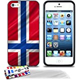 Originale Schutzschale von MUZZANO : Schwarz, ultradünn und flexibel, mit Norwegen Flagge-Muster für APPLE IPHONE 5S + 3 Displayschutzfolien UltraClear