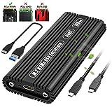 AODUKE Typ C USB 3.1 Gen 2 (10 Gbit/s) NVMe PCIe M.2 SSD Gehäuse M-Key basierend auf ASM2362 Bridge Chip, externes Aluminium-Kühlgehäuse, passend für Samsung 960/970 EVO/PRO WD Black NVME SSD