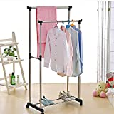 Abtrix Stainless Steel Premium Double-Pole Clothes Hanger / Rack, Rolling Bar Rail Rack, (For Clothes / Shoes) Adjustable