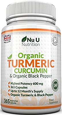 Organic Turmeric Curcumin 600mg, 365 Capsules (1 Year Supply) With Organic Black Pepper | SOIL ASSOCIATION Organic Certified & Made in the UK by Nu U Nutrition