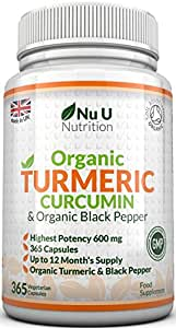 Organic Turmeric Curcumin 600mg, 365 Capsules (1 Year Supply) With Organic Black Pepper | Suitable for Vegetarians & Vegans | SOIL ASSOCIATION Organic Certified & Made in the UK by Nu U Nutrition