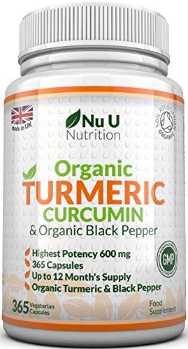 Nu U Nutrition  Organic Turmeric Curcumin 600mg, 365 Capsules Test