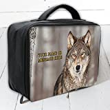 Personalised Wolf Sh281 Large Work Lunch Bag Cool Box Insulated Dad Gift