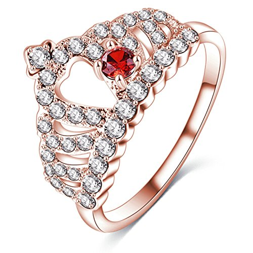 AieniD Vertrauensring Frauen Hochzeit Verlobungsring Krone Rose Gold Größe:57 (18.1)