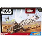 Two of boys' favorite brands - Hot Wheels and Star Wars - have joined forces! This play set allows kids to play out the starship action of the upcoming film Star Wars: Episode VII! Works with Star Wars starships made with Hot Wheels die-cast. Each so...
