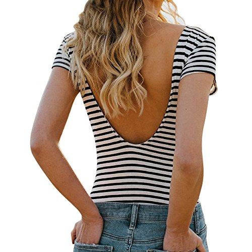Gestreift Oberteil Damen, Ulanda Frauen Sexy V Rückenfrei Streifen T Shirt Bluse Teenager Mädchen Kurzarm Basic Baumwolle Sommer Shirt Crop Tops Hemd Pullover Sale (Schwarz, S)
