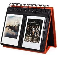 Woodmin Schreibtischkalender Album für Instax Mini 7s 70 8 25 50 90, Polaroid Z2300, Polaroid PIC-300P Film (Arancione, 68 Fotos) - 8x10 Di Legno Della Struttura