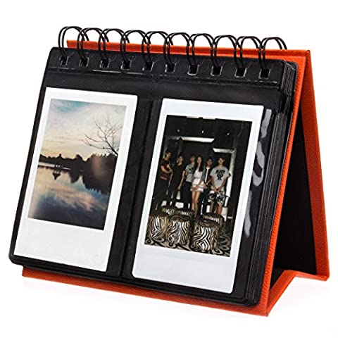 [Fujifilm Instax Mini Photo Album] Woodmin 72 Pockets Desk Calendar Album for Fuji Instant Mini 70 7s 8 25 50s 90, Polaroid Z2300, Polaroid PIC-300P Film(Orange)