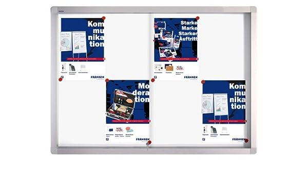 Bacheca magnetica professionale con sportelli scorrevoli per 8 fogli formato A4 Franken SK6108 95 x 68 x 4,6 cm
