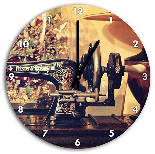 imagen antigua máquina de coser en el reloj de pared con negro señaló las manos y la cara, de 30 cm de diámetro, decoración perfecta para su hogar, idea regalo estupendo para jóvenes y mayores