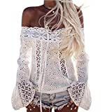SHOBDW Women Off Shoulder Long Sleeve Lace Loose Breathable Blouse Tops T Shirt (M, Weiß)