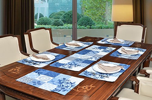Avira Home Polycotton Multichecks Table Mats And Table Runner Set, 6 Mats...
