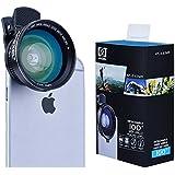Apexel - Objetivo universal 4 en 1 para teléfonos móviles, teleobjetivo, ojo de pez, gran angular y macro, con minitrípode
