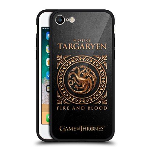Head Case Designs Ufficiale HBO Game of Thrones Targaryen Sigillo Metallico Nero Cover Retro Ibrida in Vetro per iPhone 7 / iPhone 8