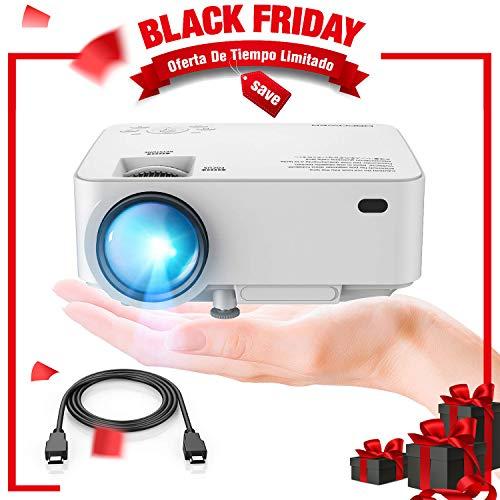 DBPOWER Mini proyector, 2200 Lumen Proyector LED de Video HD 1080P con Pantalla de 176', Vida útil de 50,000 Horas, proyector para Cine en casa Compatible con Amazon Fire TV Stick